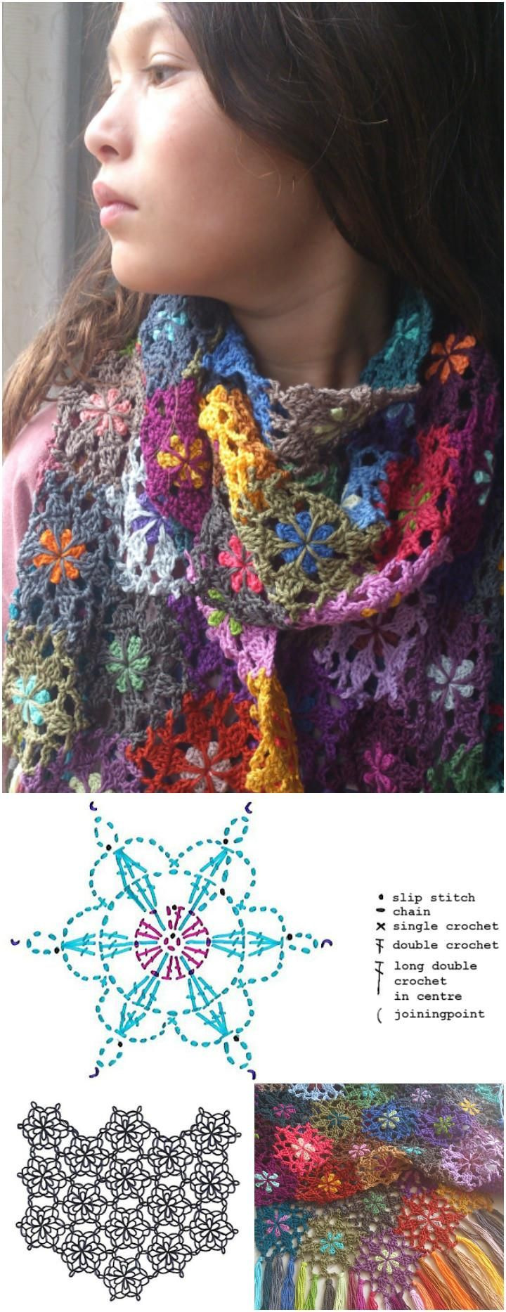 crochet flower shawl tutorial