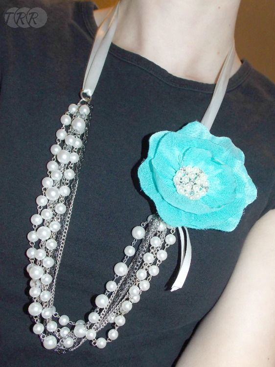 fabric flower necklace tutorial