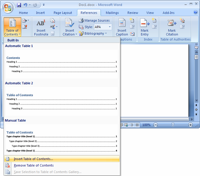 table of contents in word 2007 tutorial
