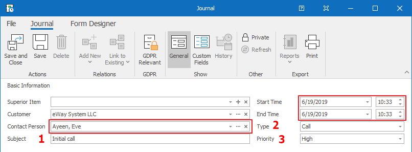 contacts journal crm tutorial