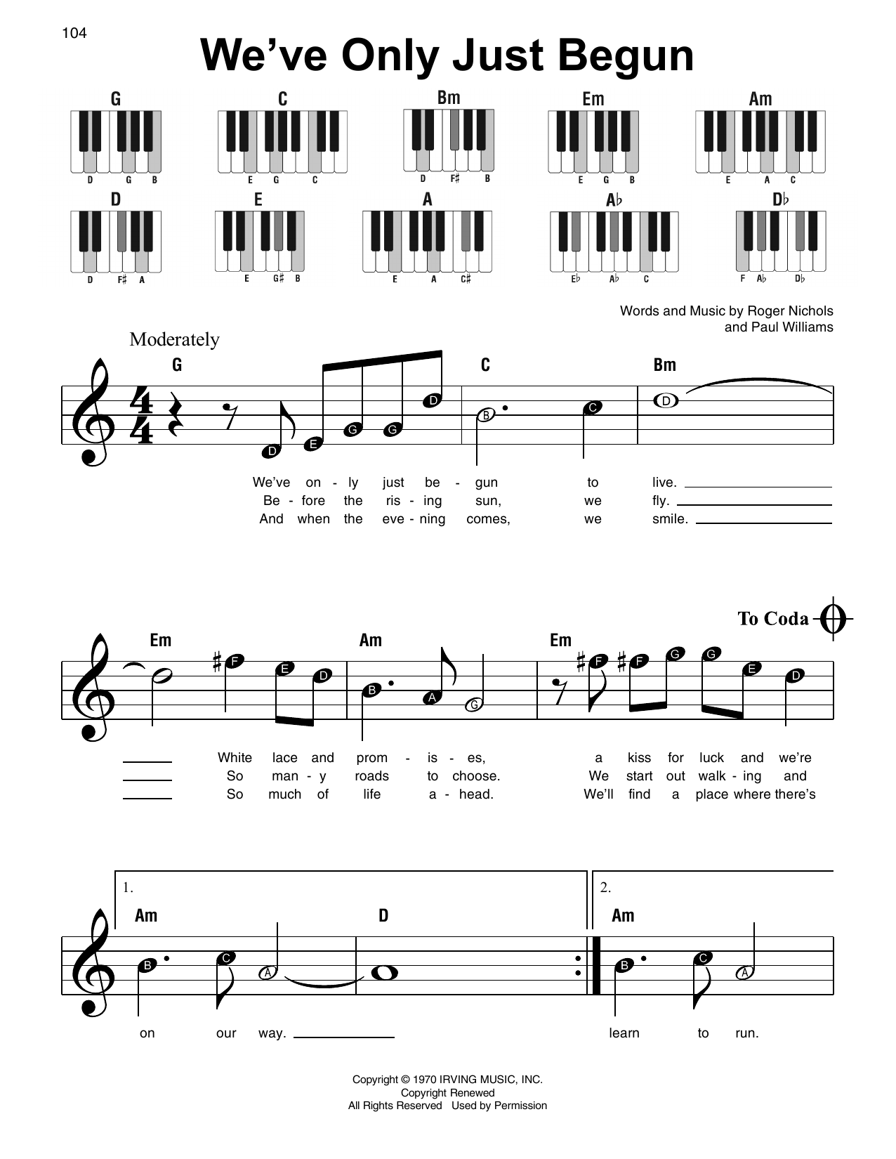 we ve only just begun piano tutorial