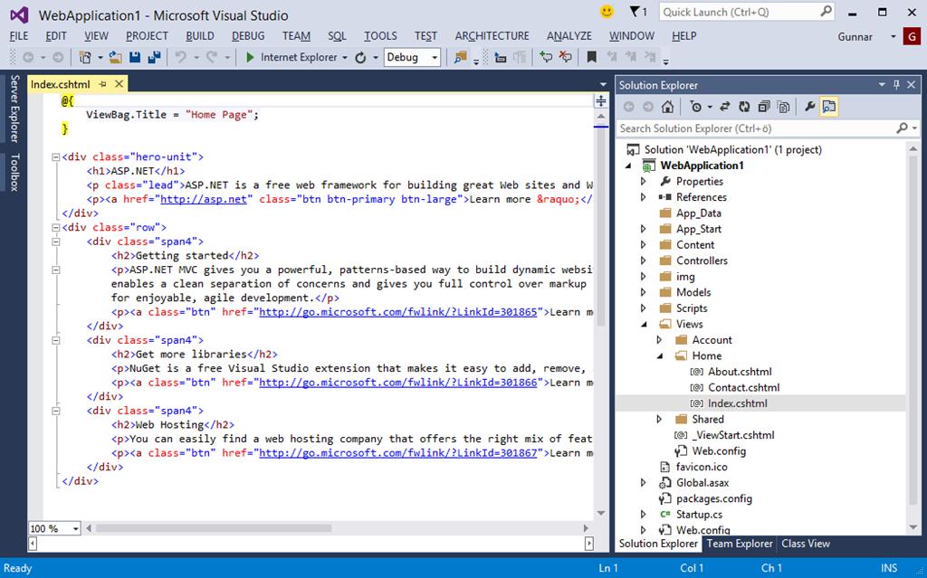 visual studio 2013 web application tutorial