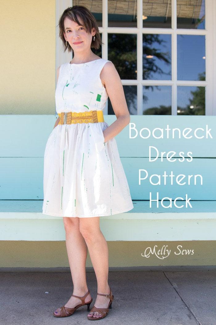 boat neck dress tutorial