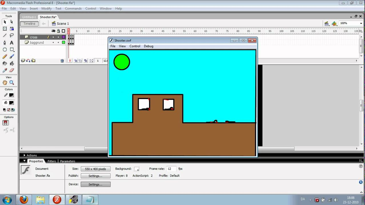 macromedia flash 8 shooting game tutorial with codes