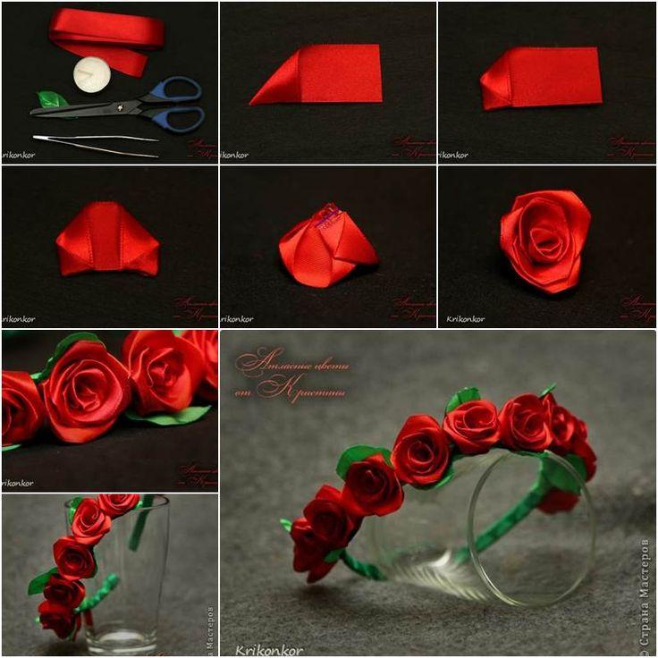 satin ribbon flower making tutorial