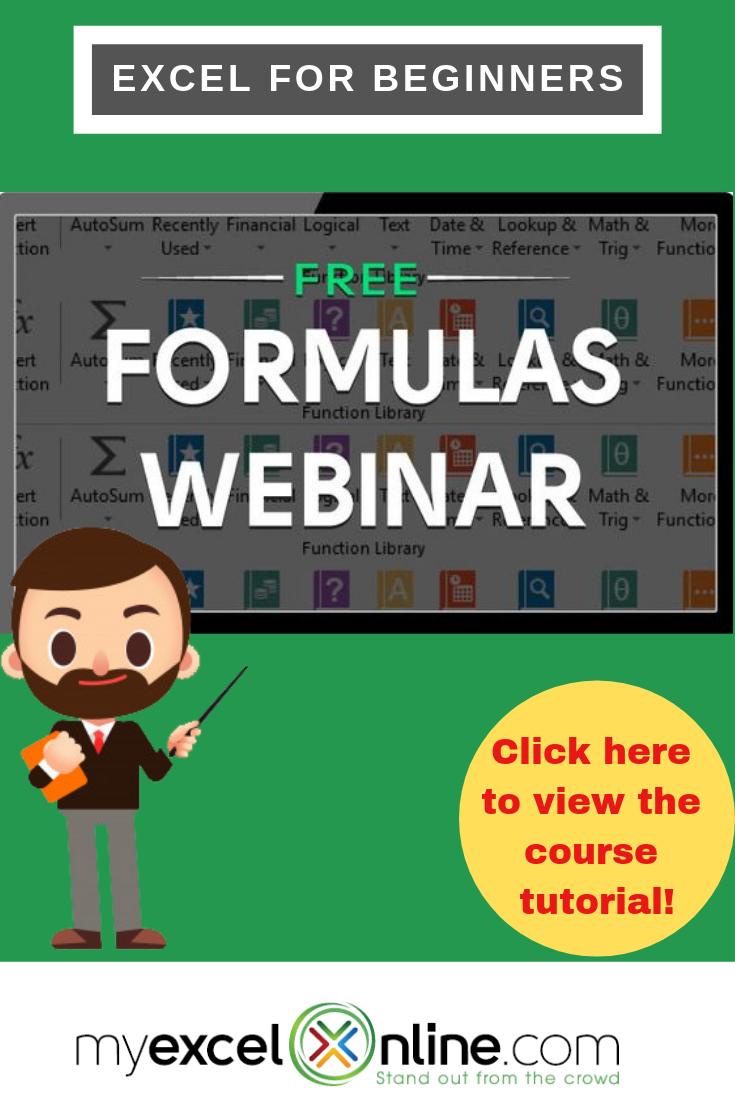 microsoft excel formulas tutorial