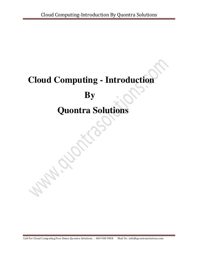 introduction to cloud computing tutorial