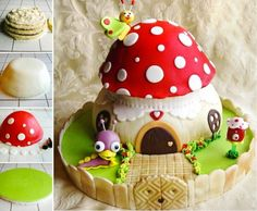 how to make a toadstool cake tutorial