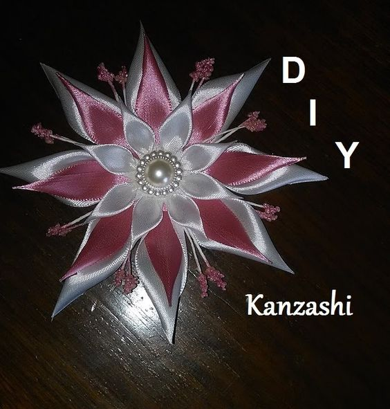 pointed kanzashi flower tutorial