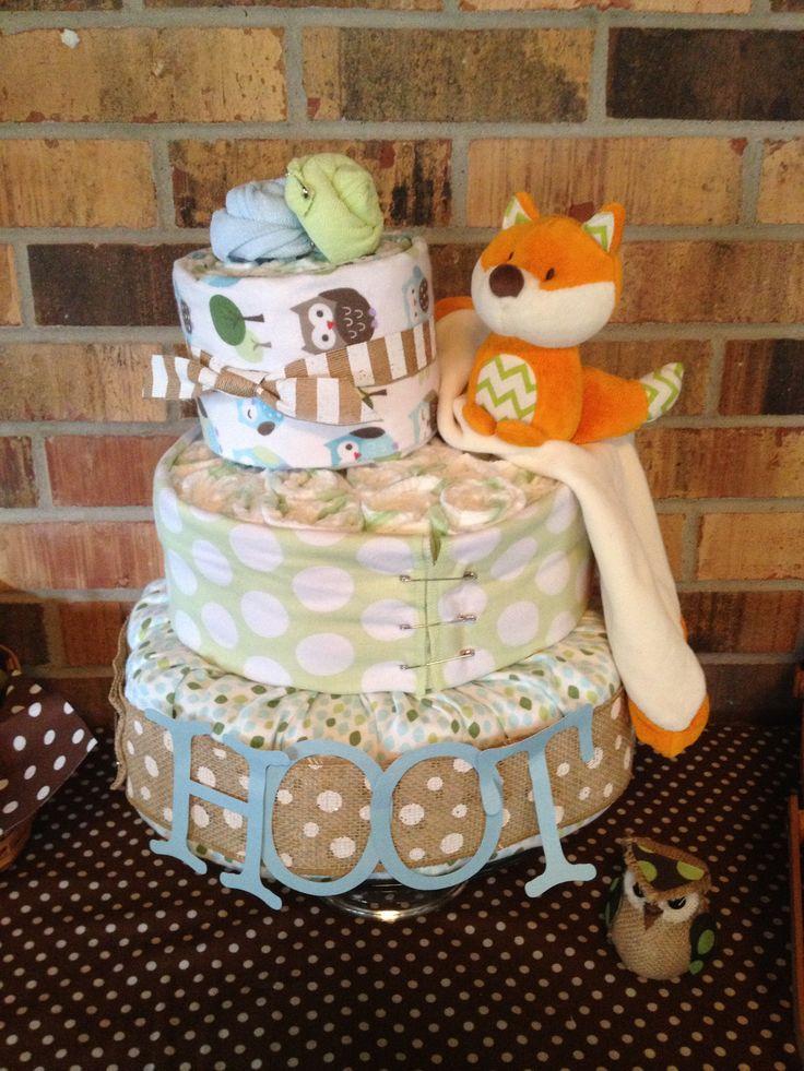 owl shaped diaper cake tutorial