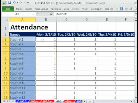 employee absence schedule tutorial excel 2013