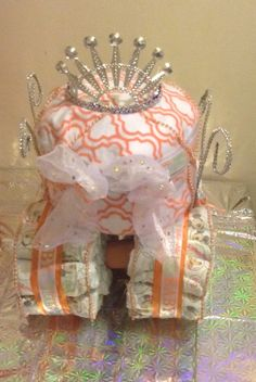 princess carriage diaper cake tutorial