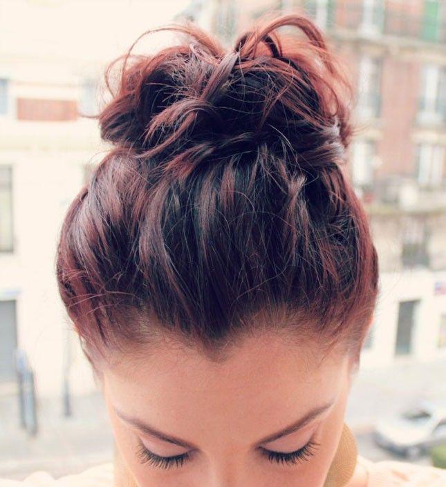 top knot tutorial short hair