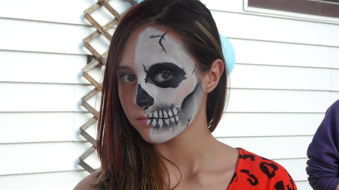half skull face paint tutorial