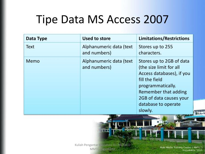 ms access 2007 tutorial ppt