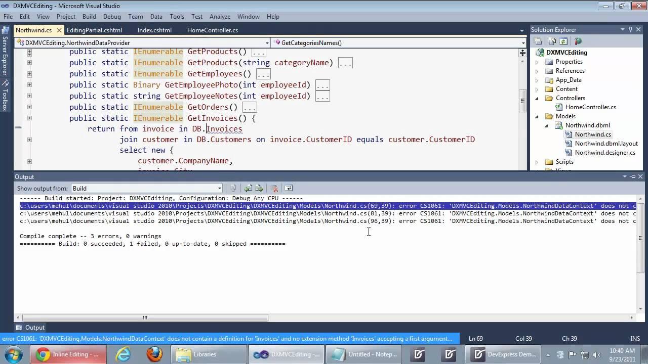 devexpress asp net mvc tutorial