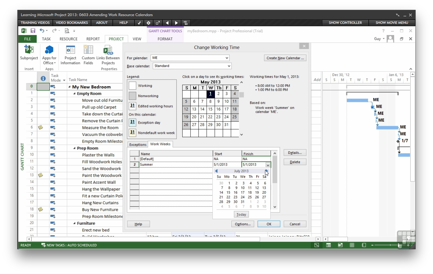 microsoft project learning tutorial