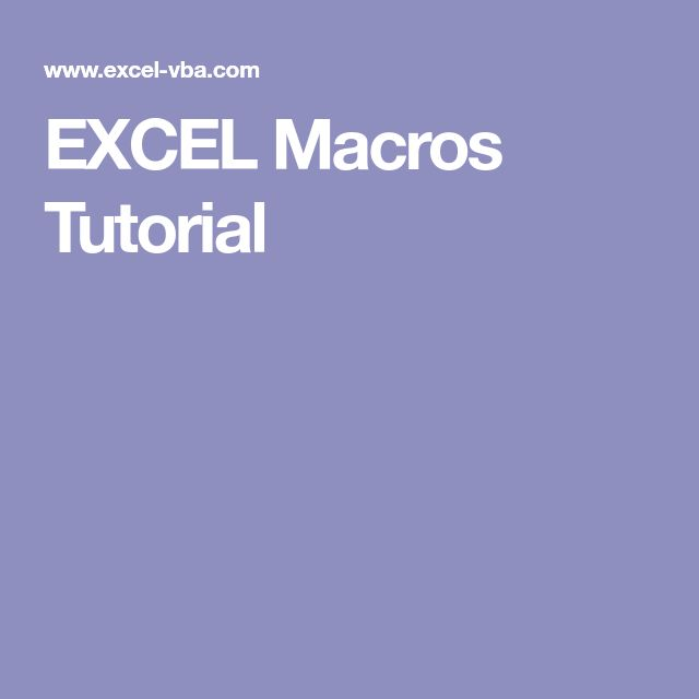 excel and macros tutorial