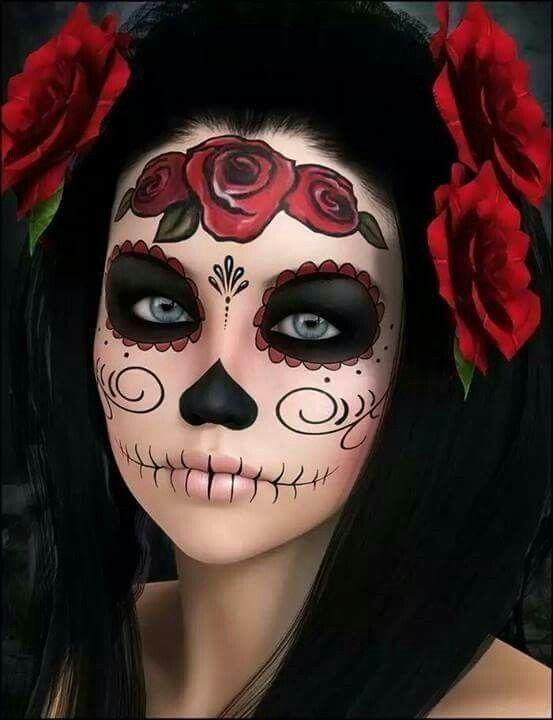 blue sugar skull makeup tutorial