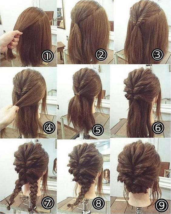 medium hair bun tutorial