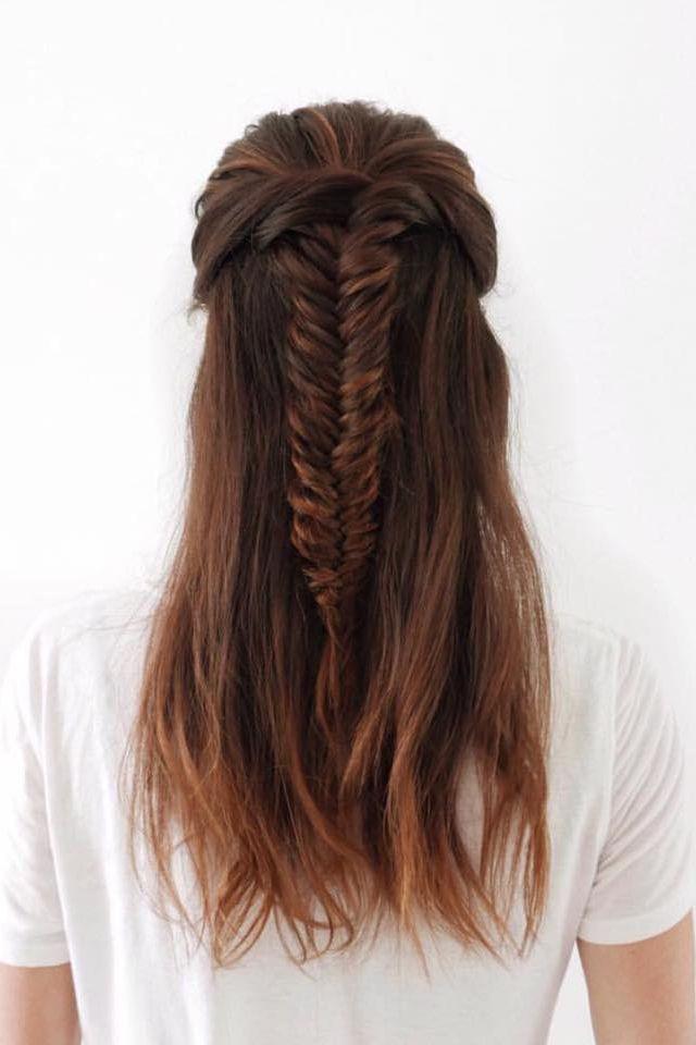 half up half down braid tutorial