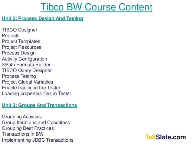 tibco bw tutorial for beginners