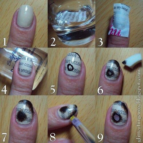newspaper nail art tutorial