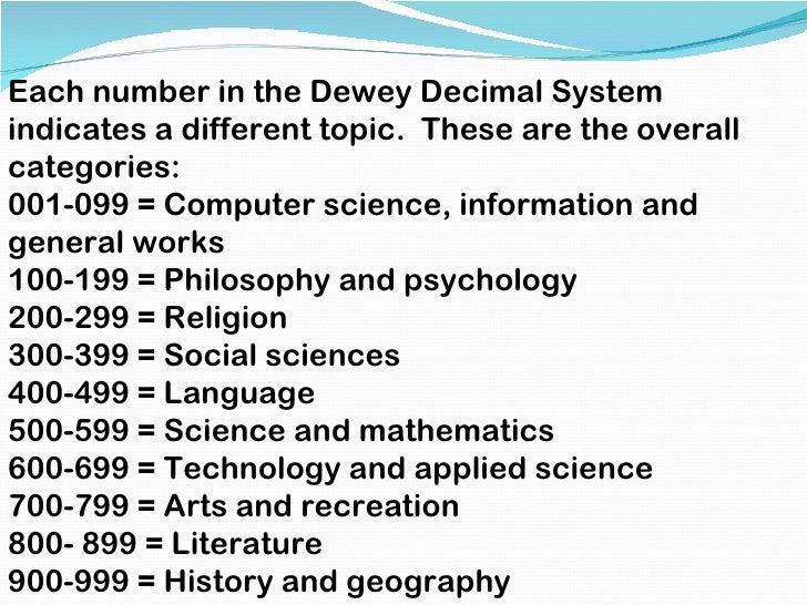 dewey decimal system tutorial