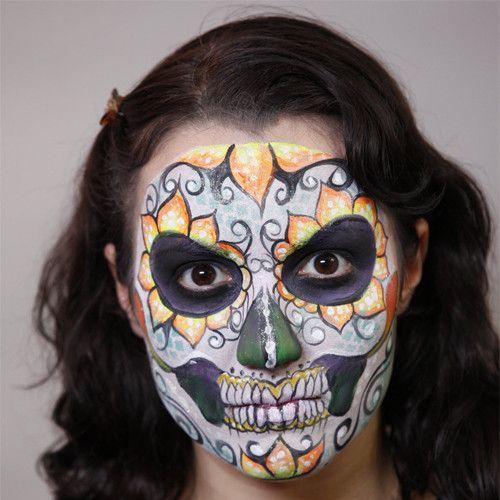 sugar skull makeup tutorial half face