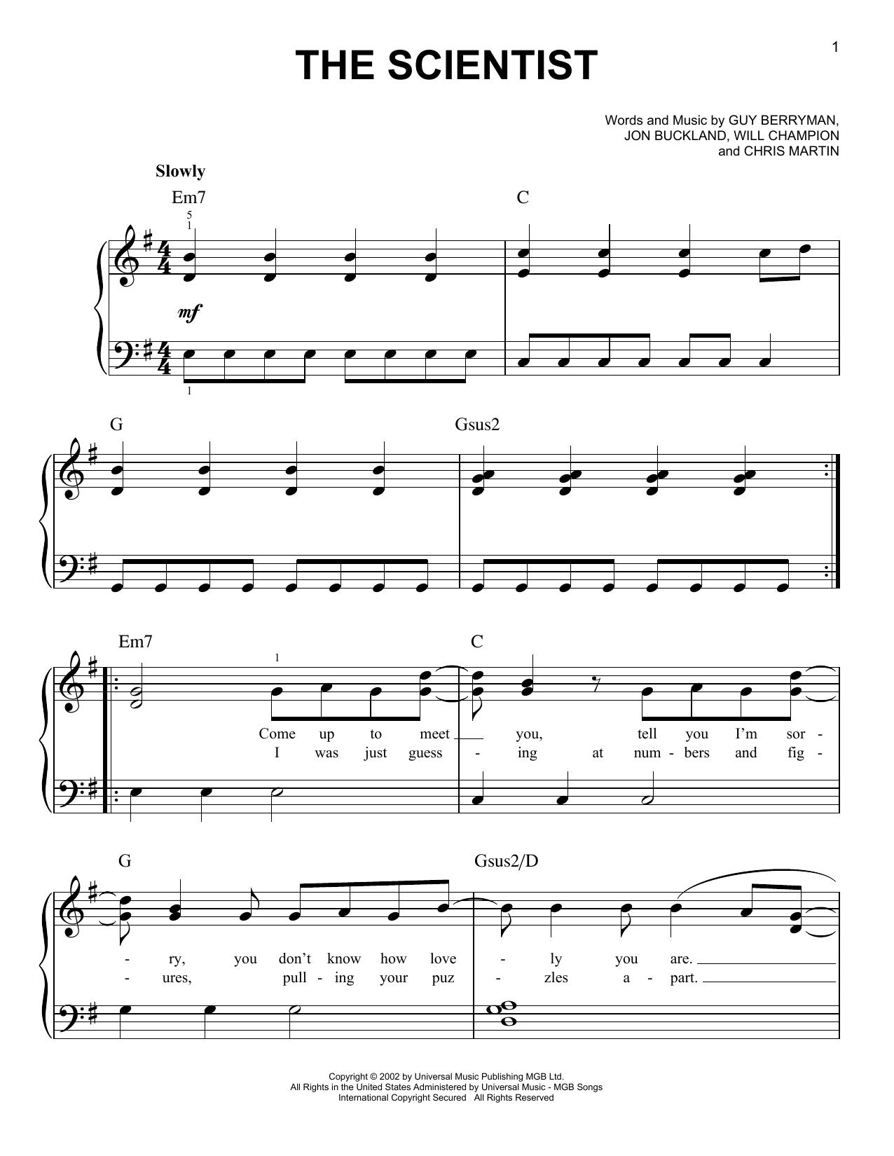 the scientist piano tutorial easy