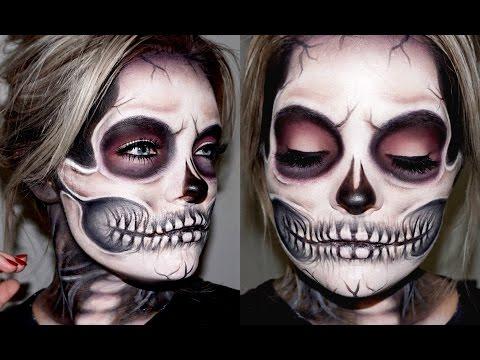 easy half skull halloween makeup tutorial