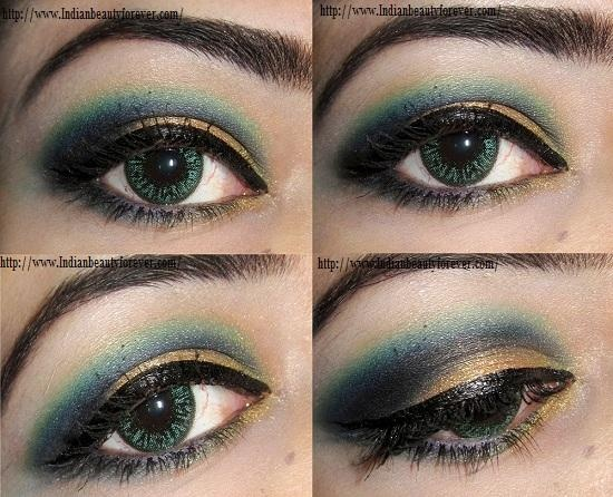 blue and gold smokey eye tutorial