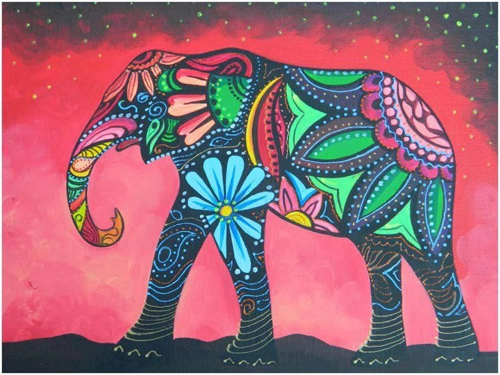bohemian elephant painting tutorial