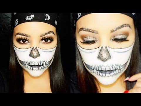 glitter skull makeup tutorial