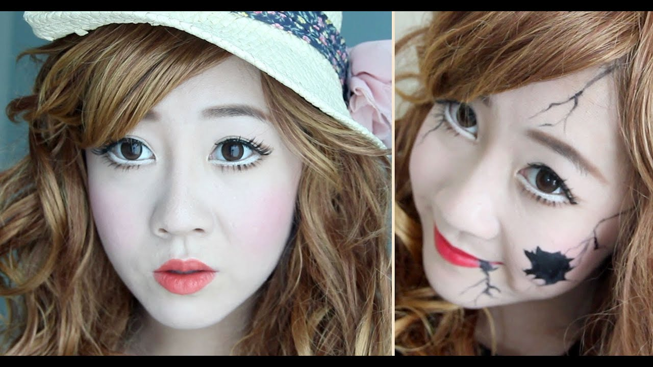 cracked porcelain doll makeup tutorial