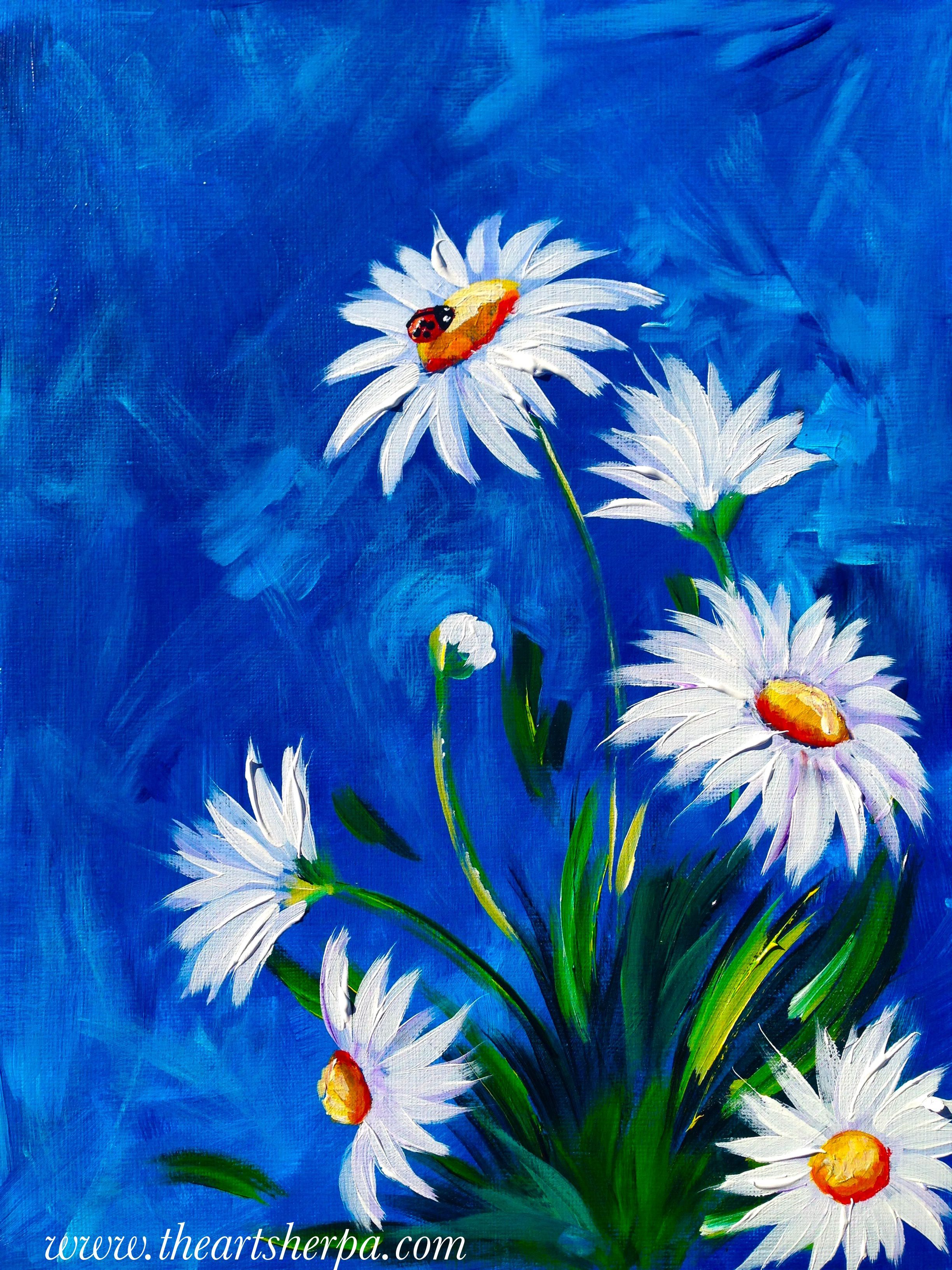 daisy acrylic painting tutorial