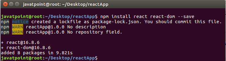 react js tutorial point