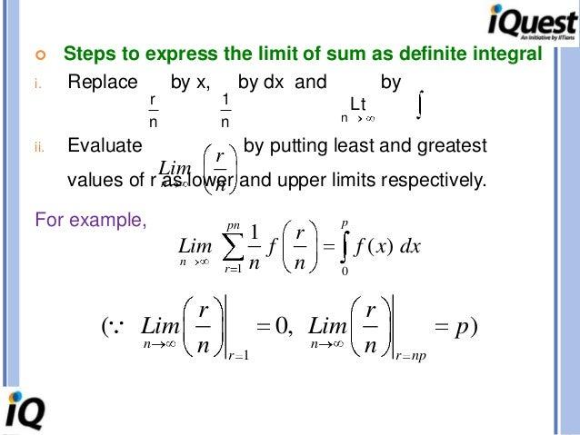 definite integral as a limit of sum tutorial