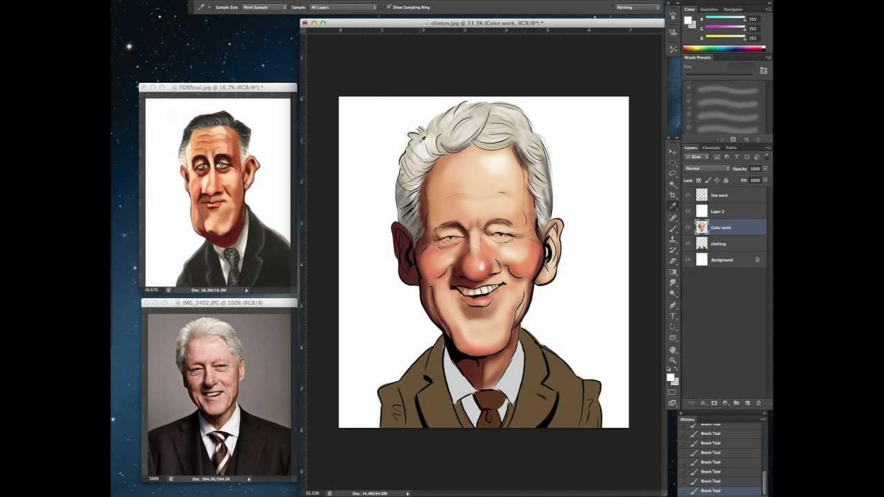 digital caricature tutorial photoshop