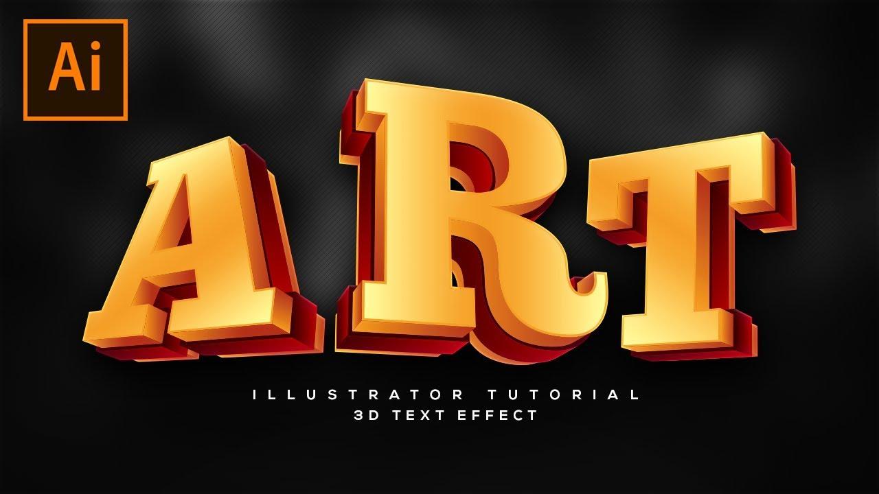 3d text illustrator tutorial
