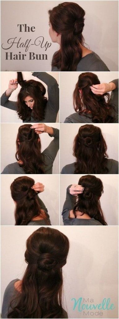 half up bun tutorial