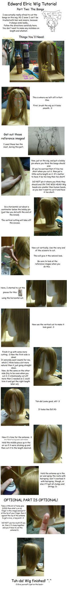 edward elric wig tutorial