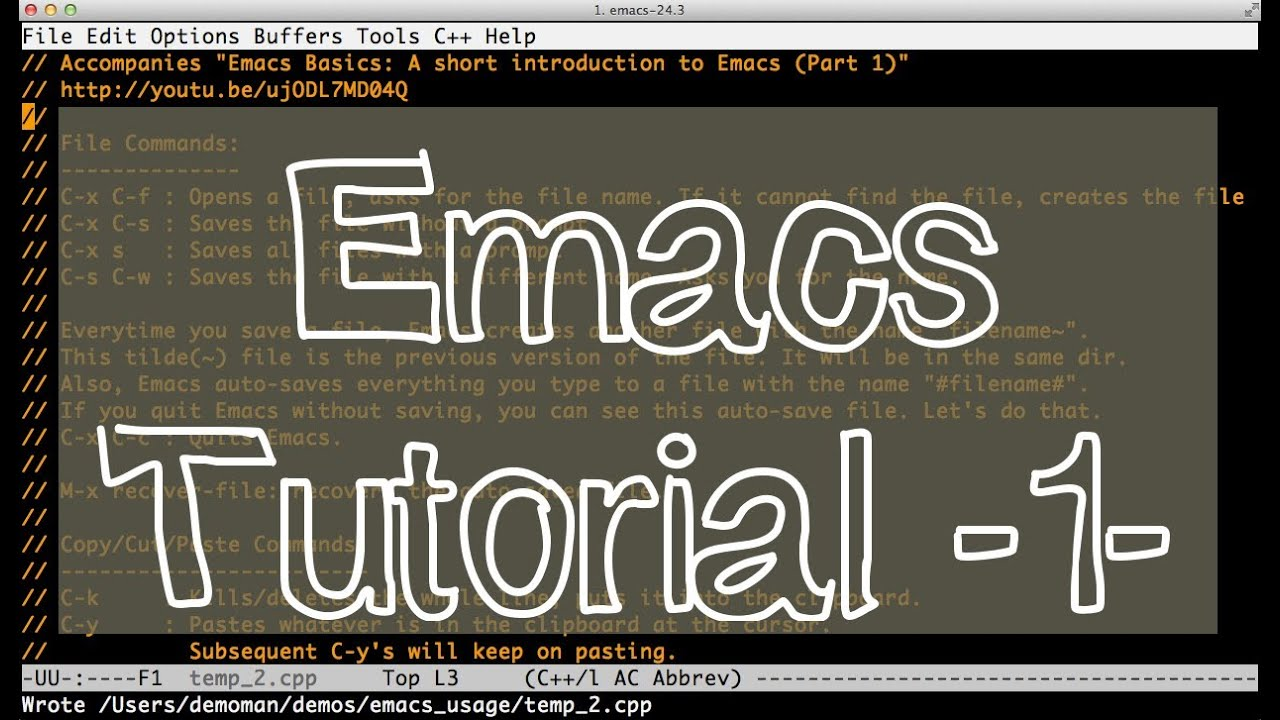emacs tutorial for beginners