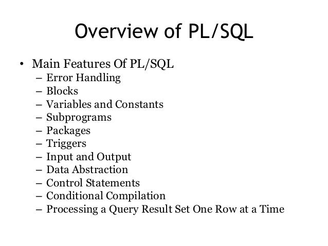 pl sql online tutorial