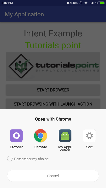 intent in android tutorial point