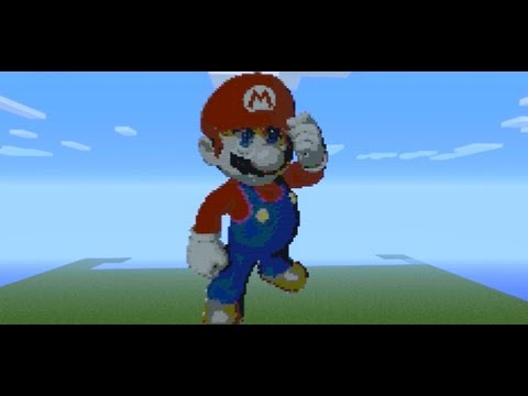 mario pixel art minecraft tutorial