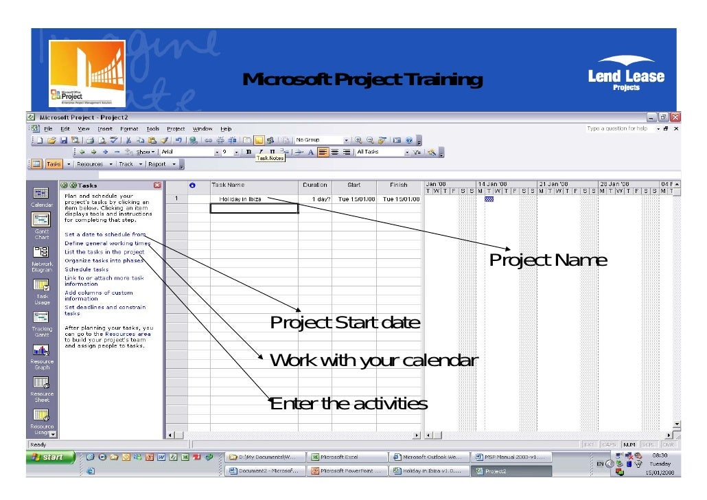 microsoft project tutorial for beginners