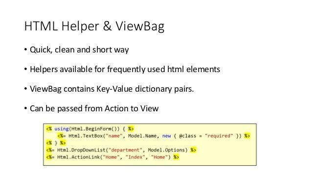 mvc html helpers tutorial