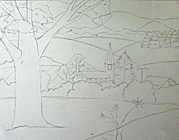 pencil sketches landscapes tutorial