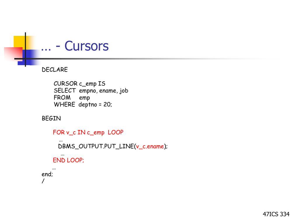 pl sql cursor tutorial